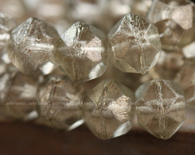 CHARDONNAY FROST .. 10 Picasso Czech Glass English Cut Beads 10x9mm (4007-10)