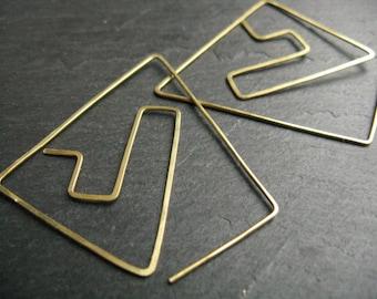 Pyramid Statement earrings, graphic geometric earrings, ethnic brass earrings, tribal hoops, sacred geometry