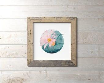 "Botanical Watercolor Peyote Cactus Print wall art, 6""x6"" or 8""x8"""