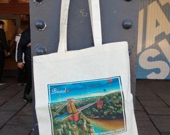 Original 100% Cotton Shopper Tote Bag with Bristol's Famous Clifton Suspension Bridge and Balloon Festival