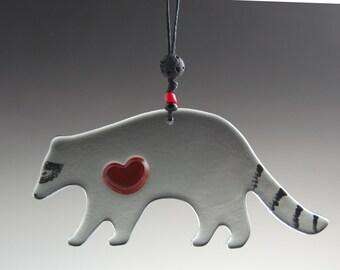 Glass Raccoon Ornament-Original Art-Gray-Grey-Woodland Animal-Red Heart-Sun Catcher-Cute-Fused-Adorable-Inner Peace Totem-LOVE