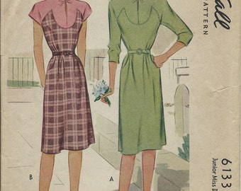 Vintage 1945 McCall Junior Miss Sewing Pattern 6133 Dress SIZE 14 / Bust 32