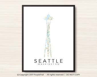 Seattle Art Print    Space Needle     Seattle Art    Wall Art   Custom Present   Seattle Skyline Print     Framed Print     Space Needle Map