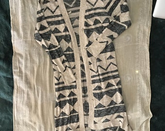 tribal print long sweater