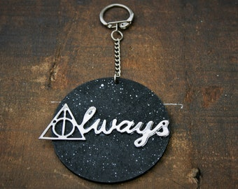Always/ Deathly Hallows Handmade Wooden Keyring/ Keychain - Inspired by Harry Potter