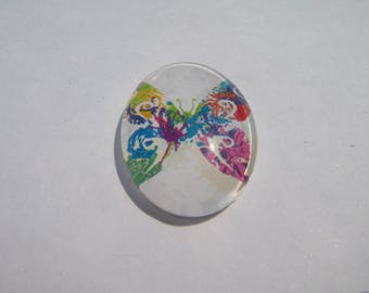 Glass cabochon oval 25 X 18 mm with a butterfly image multicolor