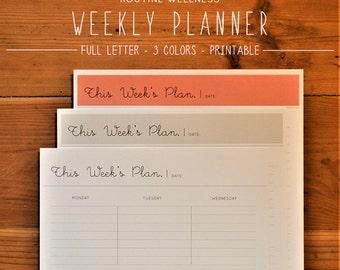Weekly Planner, Printable Planner, Minimalist Planner, Organization, Productivity, Time Planner