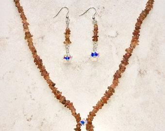 Mandarin Garnet | Sterling Silver | Necklace & Earrings | Spessartite | January Birthstone | Crystal Healing | Gift | For Her