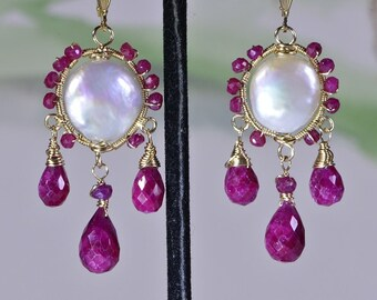 Wire Wrapped Ruby Earrings, Genuine Ruby Earrings, Natural Ruby Earring, Gold Ruby Earrings, Wire wrap Earrings Birthday Gift