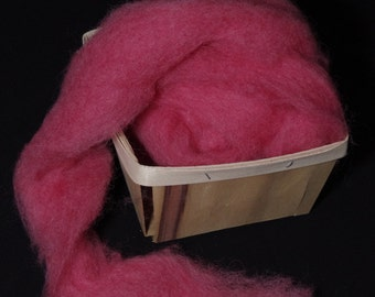 Hand-dyed wool roving for spinning,  felting or needle-felting WATERMELON
