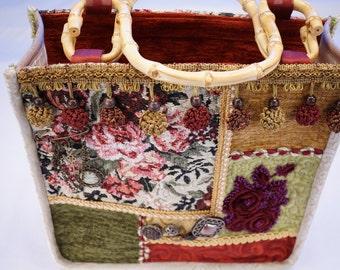 Boho bag, quilted bag, carpet vintage tapestry, quilting bamboo handles, #6