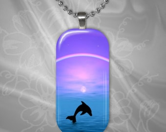 Tranquility II Dolphin glass tile pendant