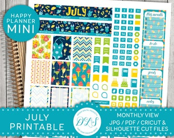 July Monthly Stickers, Mini Happy Planner July, July Monthly View, July Happy Planner Stickers, Mini Mambi Monthly Kit, MM112