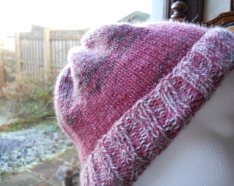 Knitted chunky ladies hat, warm knitted pink hat, Cosy knitted winter hat, Knitted Ladies chunky pink hat