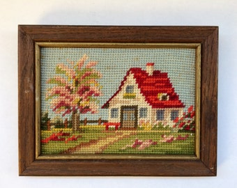 Spring needlepoint wall art, vintage decor, 1970s art,