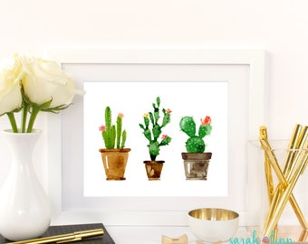 Cactus Art Gift for Her Cactus Printable Gift Watercolor Cactus Print Cactus Decor Instant Download Printable Home Decor Succulent
