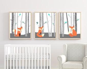 Fox Nursery Wall Art Print. Nursery Art Print. Fox Woodland Nursery Prints. Baby Boy Nursery Wall Art Print and Bedroom Decor H218