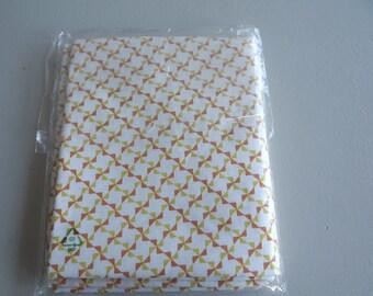 FABRIC cotton geometric white yellow and orange