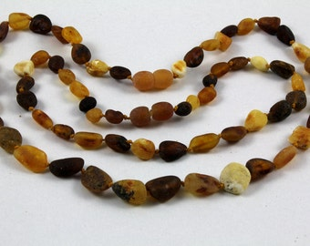 Unpolished Maximum Effective Baby Teething Baltic Amber Necklace for Baby and Mommy