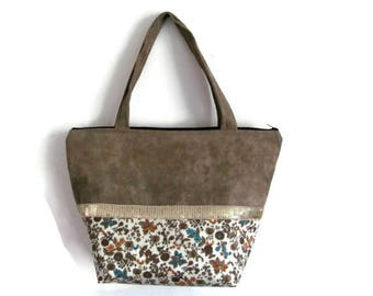 Gold sequins floral cotton taupe suede purse