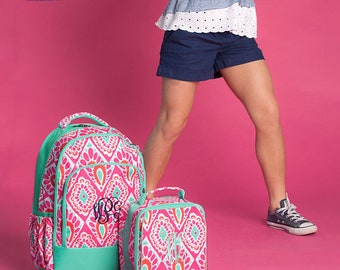 Beachy Keen Backpack and Lunch box Set, MONOGRAM INCLUDED, Personalized Backpack, Monogram Backpack, Girl Backpack, Back to School