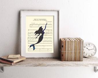 Little Mermaid Ariel Swimming Part of Your World Sheet Music Art Print