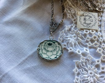 Green Flower Necklace Made From Repurposed China / Item # N1799