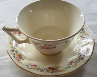 Vintage Crown Potteries Co. Cup & Saucer Set 1039