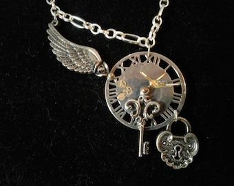 "24.5"" Necklace, Steampunk Pendant, Time Flys, #133"