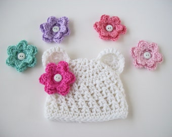 Bear Hat, Choose 5 Flowers, Crochet Girl Hat, Newborn Girl Hat, Newborn Photo Prop, White Bear Hat, Crochet Baby Hat, Baby Girl, Baby Hat
