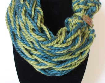 Green and Teal Inspirational Single Wrap Chunky Arm Knit Infinity Scarf