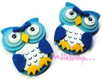 Set of 2 blue felt OWL embellishment scrapbooking (ref.310). *.