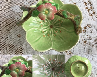 Vintage Sylvac flower-shaped trinket dish with branch handle