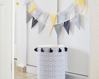 Toy storage basket. Laundry basket. Laundry hamper. Tassels.  Nursery fabric basket. Baby hamper. Black and white Canvas storage bin Toy box