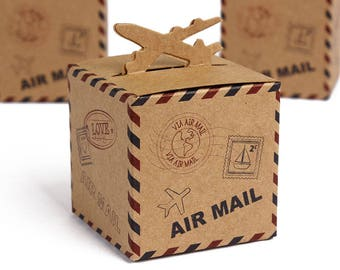 Rustic Airmail Inspiried Vintage Shabby Chic Wedding Favour Boxes Craft Boxes, Rustic Wedding, Sweets Boxes, Candy boxes, favours,