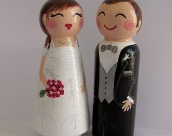 Hand Painted Love Boxes Custom Wedding Bride and Groom Cake Topper Peg Doll Wood