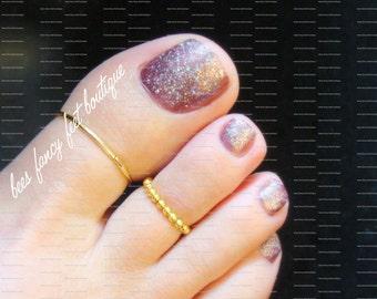 Big Toe Ring Set, Gold Toe Rings, Stacking Rings, Stretch Bead Toe Rings