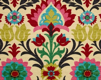 Waverly Santa Maria Desert Flower Home Decor Fabric - Multi Color Damask Drapery Fabric 676122 - Fabric by the 1/2 yard - SHIPS SAME DAY
