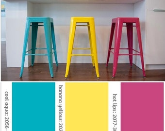 """Custom Painted Tolix Style Stool in the Color of your Choice 26"""" or 30"""" Bar Height"""