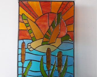 Large stained glass blue and orange
