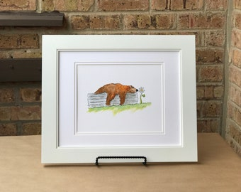 Watercolor Bear Print - Cute Bear Art - Playroom Decor - Bear Watercolor - Bear Art Print - Bear Print - Kids Room Art - Kids Room Decor