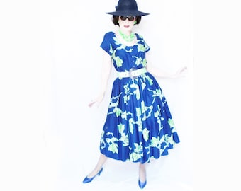 1950s Style Dress for Women, 80s does 50s New Look Full Skirt Volup with Pockets, Spring Summer, Cotton Midi, Large to Plus Size Vintage