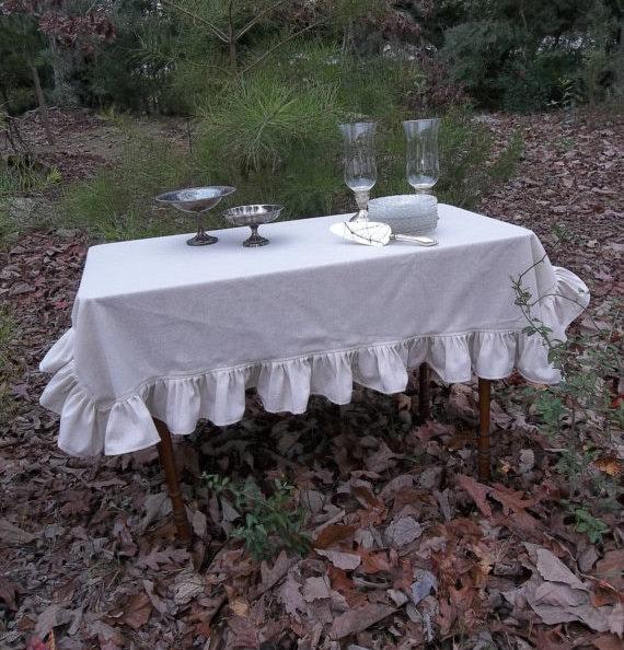 Elegant Ruffled Linen Tablecloth Ruffled Tablecloth Custom Table Cloth