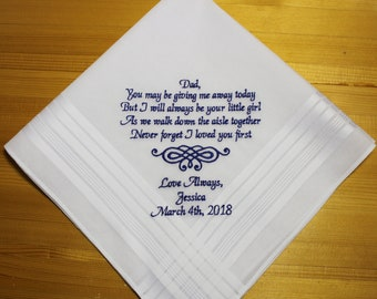 Father of Bride Personalized Wedding Handkerchief Embroidery Custom Monogram