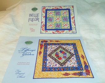 Quilt Patterns Tiffany's Garden and Belle Fleur by Quilters O.N.L.Y. Promo Patterns