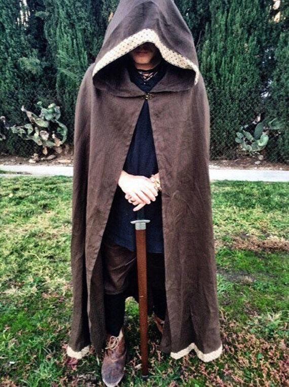Linen Viking Cloak Cape Hooded Garb Norse, SCA, LARP, HEMA, Medieval, Fantasy Brown Metallic Comic Con Knotwork Trim Celtic Slavic, Reenactm