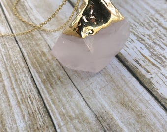 Rose Stone necklace,natural pink crystal necklace,Rough Quartz necklace,stone slab necklace,healing jewelry,indie necklace,bohemian hippie