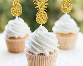 Pineapple Cupcake Toppers, Pineapple Party Decorations, Gold Glitter Pineapple Cupcake Toppers