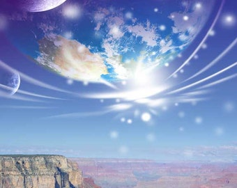 Skyfall at the Grand Canyon - surreal image of earth like planet and two moons over Grand Canyon