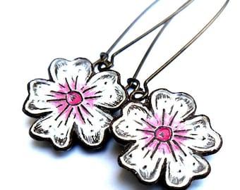 Cherry Blossom Earrings - Dangle Earrings - Pink and white Flower earrings - Spring Jewelry - Sakura Earrings
